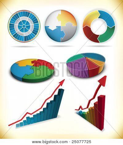 set of business graph icons
