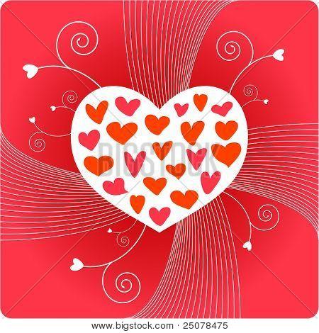 Um coração branco, contendo muitos corações de amor de mão desenhada contra o fundo vermelho.