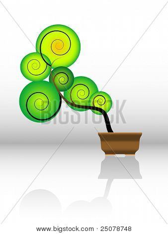 Stylized green bonsai tree.