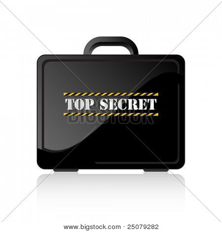 Black suitcase containing top secret document.