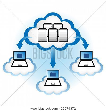 "Cloud computing concept. Laptop computers downloading application data from servers located in the ""cloud""."