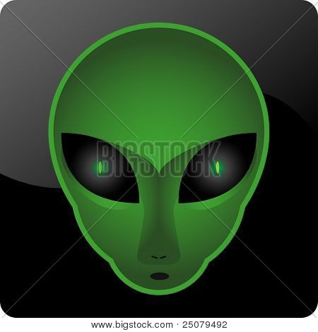 A mesmerizing green alien head.