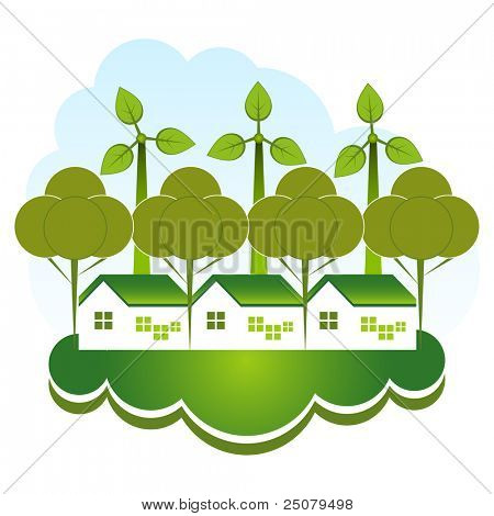 Green eco community concept. Green housing with tress and wind farm.