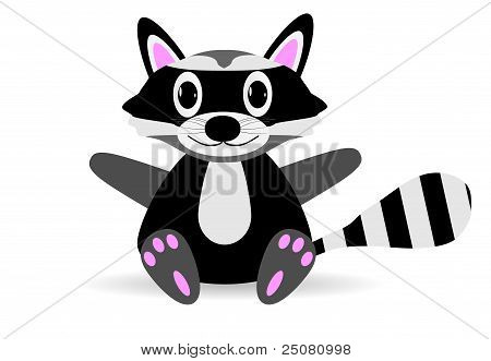 Raccoon on white