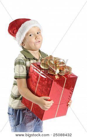 little boy in the cap of Santa Claus