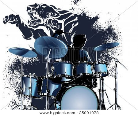 blue tiger drummer splatter