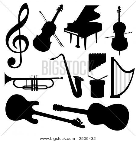 Vector Music instuments silhouette