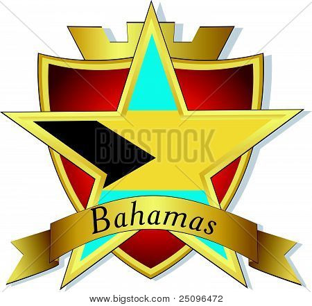 Vector Gold Star To The Flag Of  Bahamas On The Background Of The Shield