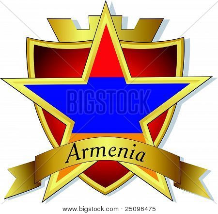 Vector Gold Star To The Flag Of  Armenia On The Background Of The Shield