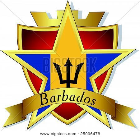 Vector Gold Star To The Flag Of  Barbados On The Background Of The Shield