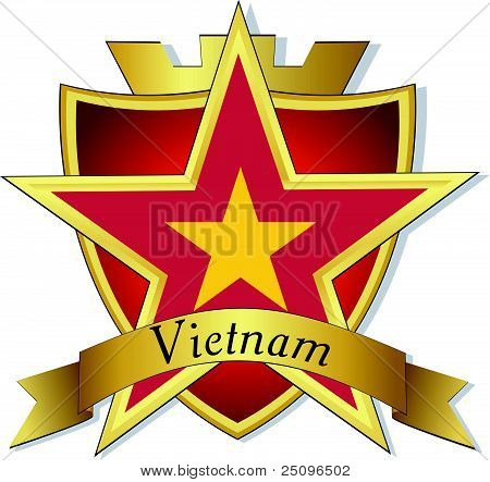 Vector Gold Star To The Flag Of  Vietnam On The Background Of The Shield