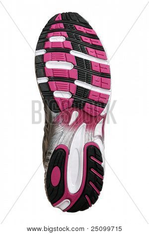 Sole of new fashion sport trainer isolated on white