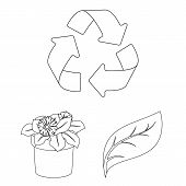 Bio And Ecology Outline Icons In Set Collection For Design. An Ecologically Pure Product Vector Symb poster