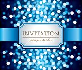 image of sparkles  - Amazing  invitation on blue glittering background - JPG