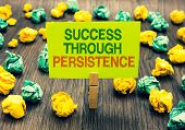 Word Writing Text Success Through Persistence. Business Concept For Never Give Up In Order To Reach  poster
