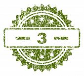 3 Stamp Seal Watermark With Dirty Style. Green Vector Rubber Print Of 3 Title With Dirty Texture. poster