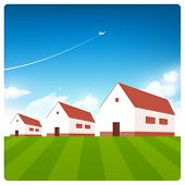 Vector houses with blue sky