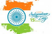 India Happy Independence Day, 15th August Celebrate Banner With Hand Drawn Lettering Holiday Greetin poster
