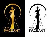 Miss Lady Pageant Logo Sign With Gold And Black Woman Wear Crown In Circle Ring Vector Design poster
