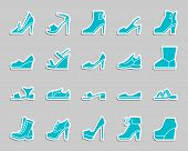 Women Shoes Silhouette Sticker Icons Set. Web Sign Kit Of Footwear. Fashion Pictogram Collection Inc poster