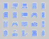 Device Silhouette Sticker Icons Set. Web Sign Kit Of Gadget. Electronics Pictogram Collection Includ poster