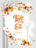 Red Autumn Maple Branch For Design Banner, Ticket, Leaflet, Card, Poster And So On. Fall Season Fram poster