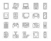 Device Thin Line Icons Set. Outline Web Sign Kit Of Gadget. Electronics Linear Icon Collection Inclu poster