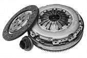 Car Clutch Kit On White Background With Shallow Depth Of Field poster