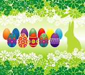 stock photo of easter bunnies  - Easter eggs and flowers  - JPG