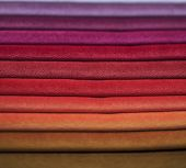 Textile Samples. Textile Samples For Curtains. Burgundy, Purple, Beige Tone Curtain Samples Hanging. poster