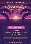Goodbye Summer Party Vector Template Illustration Design. Easily Editable With Your Text. Poster, Ba poster
