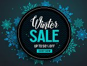 Winter Sale Vector Banner Template With Colorful Snowflakes Elements And Black Empty Circle For Disc poster