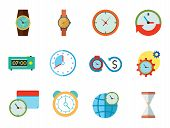 Time Icon Set. Time Is Money Time Management Calendar World Time Alarm Clock Sandglass Round-the-clo poster