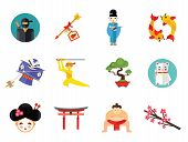 Ninja Icon Set. Japanese Kite Japanese Cranes Torii Gate Bonsai Tree Koi Fish Japanese Ninja Sumo Wr poster