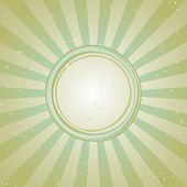 Sunlight Retro Faded Wide Background With Shabby Round Frame For Text. Blue And Green Color Burst Ba poster