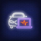 Neon Icon Of Car Diagnosis. Laptop, Cardiogram, Vehicle. Car Repair Concept. Can Be Used For Mainten poster