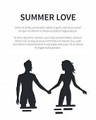 Summer Love Affair Banner With Couple Silhouettes Holding Hands And Looking On Each Other. Young Lov poster