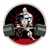 Advanced Bodybuilder Workout. Ape Weightlifter. Vector Brutal Theme. Body Training With Only A Barbe poster
