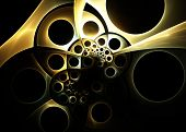 Steampunk Fractal Background   -  Clockwork Mechanism Fractal Art poster