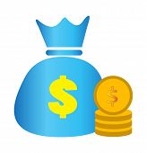 Concept Of Money. Stacks Of Coins And Money Bag. Money Bag And Money On White Background. Money Bag  poster
