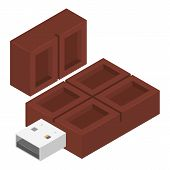 Choco Usb Flash Icon. Isometric Of Choco Usb Flash Vector Icon For Web Design Isolated On White Back poster
