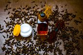 Close Up Of Home Remedy For Acne: Clove Oil Add It To Any Facial Cream Use It Twice A Day. Effective poster