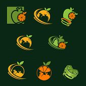 A Collection Of Fresh Fruit Logo, With A Combination Of Some Harmonious And Beautiful Colors, Vector poster