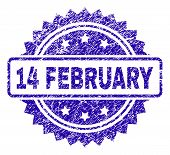 14 February Stamp Watermark With Scratched Style. Blue Vector Rubber Seal Print Of 14 February Capti poster