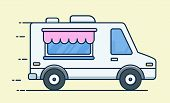 Street Food Van. Food Truck. Fast Food Delivery. Flat Design Vector Illustration Isolated On Backgro poster