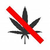 Cannabis Forbidden Sign. Drug Free Zone Symbol. Vector. poster