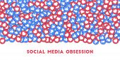 May 01, 2018: Social Media Obsession. Social Media Icons In Abstract Shape Background With Scattered poster