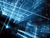 Abstract Tech Ar Sci-fi Background - Computer-generated 3d Illustration. Fractal Art: Futuristi Tunn poster