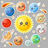 Cartoon Cute Planets Stickers. Happy Planet Face, Smiling Earth And Sun In Universe Space. Astronomy poster