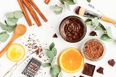 Chocolate Skincare Mask. Natural Ingredients For Making Beauty Treatment Products. Cacao, Orange Sli poster